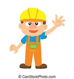 Vector illustration of a builder - a cartoon builder in ...
