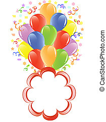 vector illustration of a bunch of balloons with ribbons, confetti and space for text.
