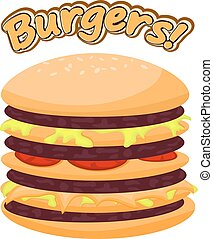 Vector illustration of a burger on a white background. Cartoon style fast food image. Burger with meat, tomatoes, cabbage