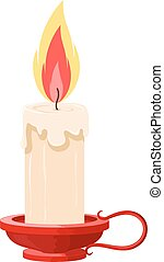 Vector illustration of a burning candle in a holder on a white background. Cartoon candle with