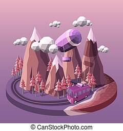 Vector illustration of a bus and airship on the background of a mountain landscape at sunset. Concept of travel and tourism. A road running through the mountains and pine forest.