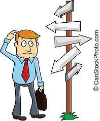 A business man faces a confusing de - vector illustration of...