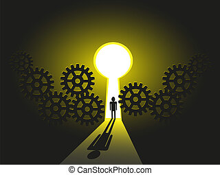 Vector Illustration of a Business man Journey towards success, solution his career future
