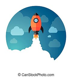 Vector Illustration of a Business Start-Up Rocket Space Exploration