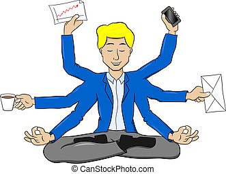 vector illustration of a businessman meditating in lotus position and does a lot of work at the same time