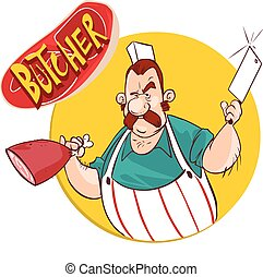 vector illustration of a Butcher with knife and meat