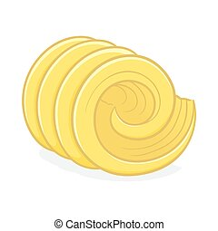 Hand drawing of a butter curl close up in vector illustration