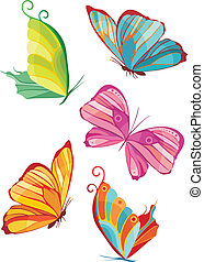 butterfly set - vector illustration of a butterfly set