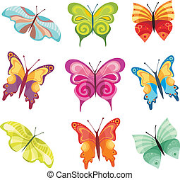 vector illustration of a butterfly set
