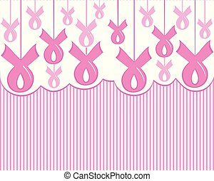 Vector illustration of a cancer pink ribbon awareness on stripe background