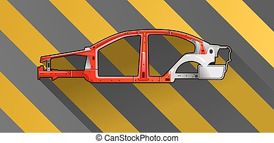 car frame - vector illustration of a car frame on black and...