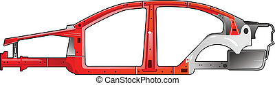 car frame - vector illustration of a car frame. (Simple...
