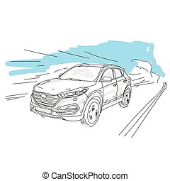 Vector illustration of a car on the road