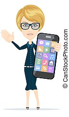 Businesswoman is holding in his hand Smartphone.
