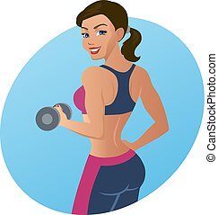 Fitness woman doing an exercise with a dumbbell