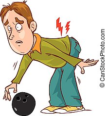Vector illustration of a cartoon character back pain
