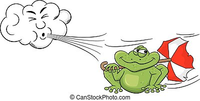 cartoon cloud blowing wind on a frog with umbrella