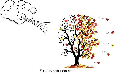 cartoon cloud that blows wind to a tree who loses fall foliage
