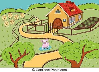 countryside - vector illustration of a cartoon countryside ...