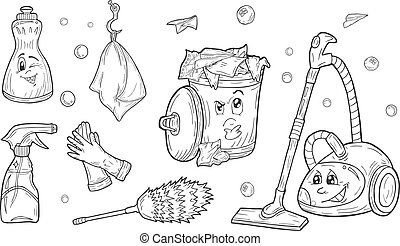 cleaning service set - Vector illustration of a cartoon...
