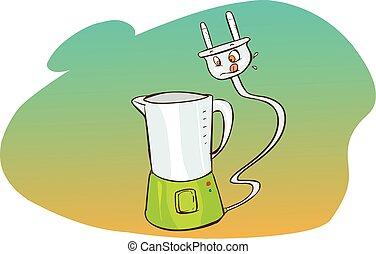 Vector illustration of a  cartoon food processor