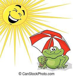 cartoon frog with sunshade and sun