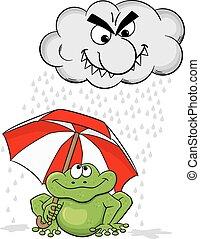 cartoon frog with umbrella and rain cloud