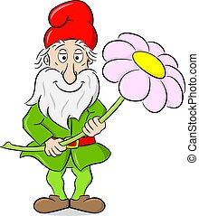 cartoon garden gnome holding a single flower in his hands