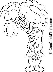 cartoon garden gnome with a bouquet of flowers