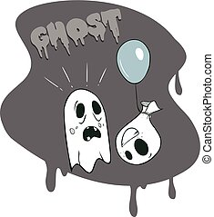 vector illustration of a Cartoon Ghosts