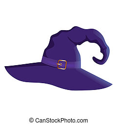 Vector illustration of a cartoon Halloween witch hat. Witch hat with buckle isolated on white background. Design element for Halloween.