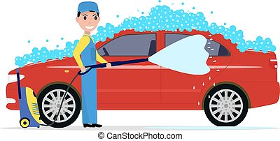 Vector illustration of a cartoon man washes a car. Isolated...