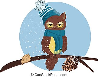 vector illustration of a cartoon owl sitting on a branch in winter