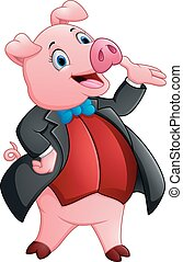A cartoon pig in a tuxedo - vector illustration of A cartoon...