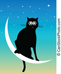cat at the moon - vector illustration of a cat at the moon