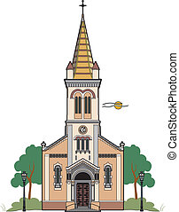 Catholic church - Vector illustration of a Catholic church
