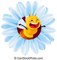 Vector illustration of a chamomile with a bee