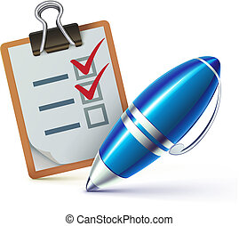 Vector illustration of a checklist on a clipboard with a elegant ballpoint pen checking off tasks