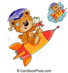 Vector illustration of a cheerful brown teddy bear in the graduation cap flies on a rocket into adulthood, a metaphor