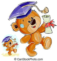 Vector illustration of a cheerful brown teddy bear in the...