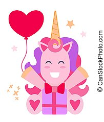 Vector illustration of a cheerful pink unicorn with a gift.