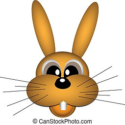 vector illustration of a cheerful red-haired hare with mustache on white background close-up