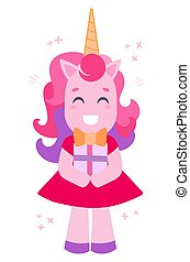 Vector illustration of a cheerful white unicorn with a gift