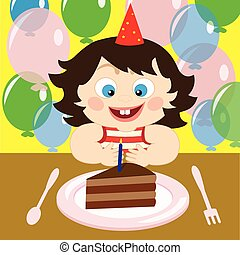 Vector illustration of a child with cake on the birthday