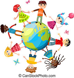 vector illustration of a children ih the world