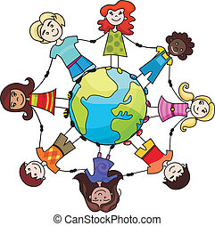 vector illustration of a children of the world