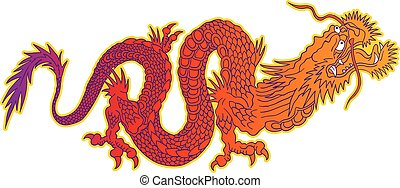Colorful chinese dragon. - Vector illustration of a chinese...