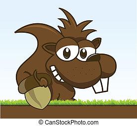 chipmunk holding his acorn