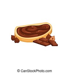 Vector illustration of a chocolate paste sandwich. Sweet snack. Chocolate-nut paste.
