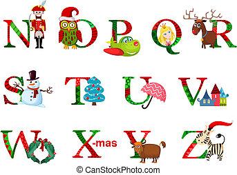 christmas alphabet - vector illustration of a christmas ...